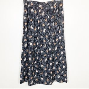 Vintage Maxi Skirt Black & White Floral Long